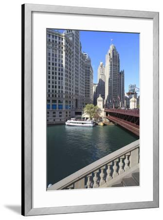 Chicago River and Dusable Bridge with Wrigley Building and Tribune Tower, Chicago, Illinois, USA-Amanda Hall-Framed Photographic Print