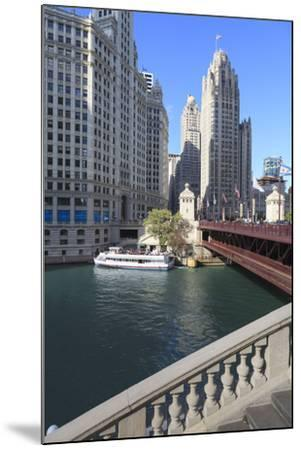Chicago River and Dusable Bridge with Wrigley Building and Tribune Tower, Chicago, Illinois, USA-Amanda Hall-Mounted Photographic Print