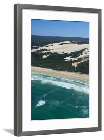 Aerial of the Seventy-Five Mile Beach, Fraser Island, UNESCO Site, Queensland, Australia-Michael Runkel-Framed Photographic Print