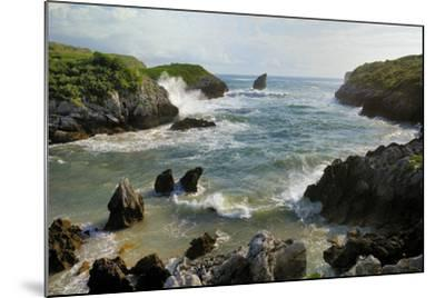Buelna Beach and Karst Limestone El Picon Rock Pillar at High Tide, Near Llanes, Asturias, Spain-Nick Upton-Mounted Photographic Print