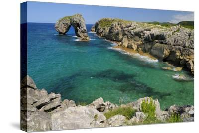 Castro de Gaviotas Karst Limestone Rock Archway and La Canalina Bay, Near Llanes, Asturias, Spain-Nick Upton-Stretched Canvas Print