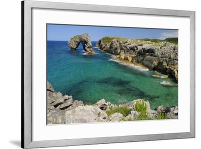 Castro de Gaviotas Karst Limestone Rock Archway and La Canalina Bay, Near Llanes, Asturias, Spain-Nick Upton-Framed Photographic Print