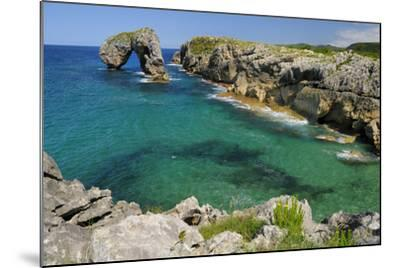 Castro de Gaviotas Karst Limestone Rock Archway and La Canalina Bay, Near Llanes, Asturias, Spain-Nick Upton-Mounted Photographic Print
