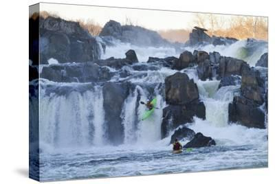 Kayakers Running Great Falls of the Potomac River-Skip Brown-Stretched Canvas Print