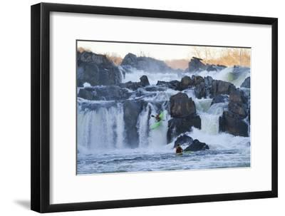 Kayakers Running Great Falls of the Potomac River-Skip Brown-Framed Photographic Print