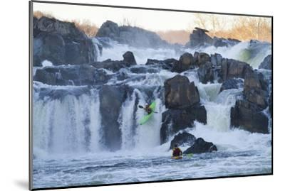 Kayakers Running Great Falls of the Potomac River-Skip Brown-Mounted Photographic Print