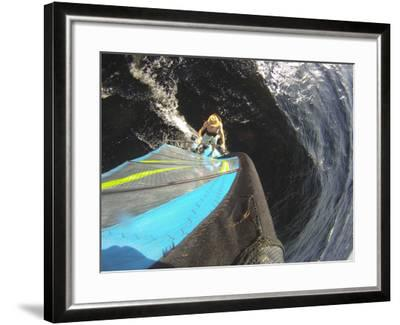Mast Mounted Shot of a Man Windsurfing on Sebago Lake-Skip Brown-Framed Photographic Print
