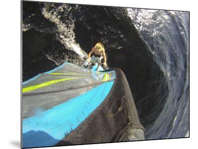 Mast Mounted Shot of a Man Windsurfing on Sebago Lake-Skip Brown-Mounted Photographic Print