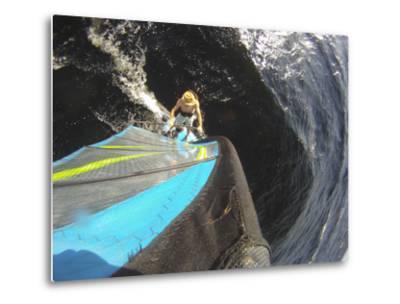 Mast Mounted Shot of a Man Windsurfing on Sebago Lake-Skip Brown-Metal Print