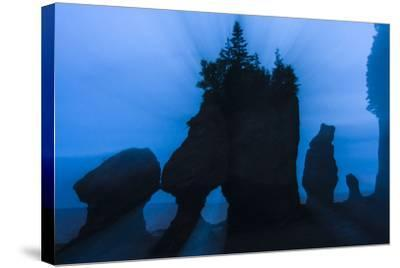 An Artistic Shot of the Hopewell Cape Rocks, Silhouetted at Dusk-Jonathan Irish-Stretched Canvas Print