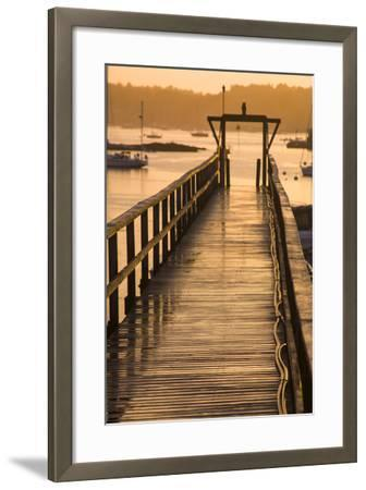 Golden Sunlight on a Pier, Boats, and Water at Sunset-Jonathan Irish-Framed Photographic Print