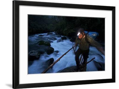 A Birds of Paradise Researcher Walks on a Pole and Vine Bridge-Tim Laman-Framed Photographic Print