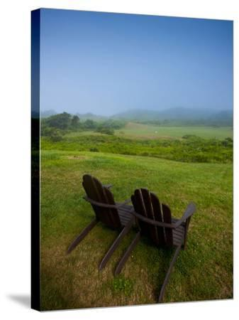 Adirondack Chairs on Lawn at Martha's Vineyard with Fog over Trees in the Distant View-James Shive-Stretched Canvas Print