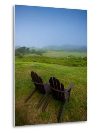 Adirondack Chairs on Lawn at Martha's Vineyard with Fog over Trees in the Distant View-James Shive-Metal Print