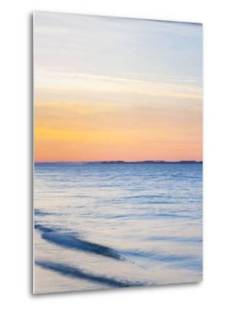 Sunset at Beach with Waves-James Shive-Metal Print