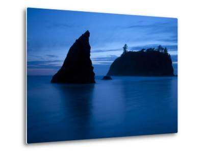 Olympic National Park, Wa: Sea Stacks Get Wrapped by the Incoming Tide-Brad Beck-Metal Print
