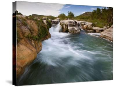 Dolan Falls Preserve, Texas:  Horizontal Landscape of the Dolan Falls During Sunset.-Ian Shive-Stretched Canvas Print