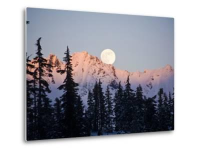 Moonrise over the North Cascades at Sunset, as Seen from Mount Baker, Washington.-Ethan Welty-Metal Print