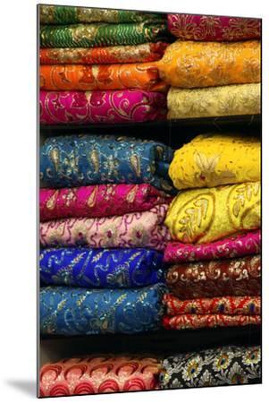 Colorful Sari Shop in Old Delhi Market, Delhi, India-Kymri Wilt-Mounted Photographic Print