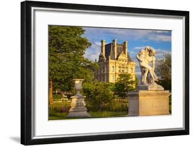 Statue in Jardin Des Tuileries with Musee Du Louvre Beyond, Paris, France-Brian Jannsen-Framed Photographic Print