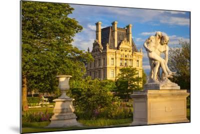 Statue in Jardin Des Tuileries with Musee Du Louvre Beyond, Paris, France-Brian Jannsen-Mounted Photographic Print