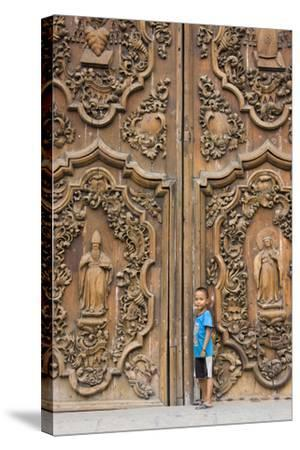 Boy by Entrance to Manila Metropolitan Cathedral, Manila, Philippines-Keren Su-Stretched Canvas Print