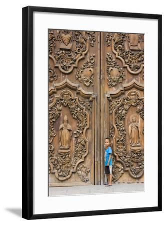 Boy by Entrance to Manila Metropolitan Cathedral, Manila, Philippines-Keren Su-Framed Photographic Print