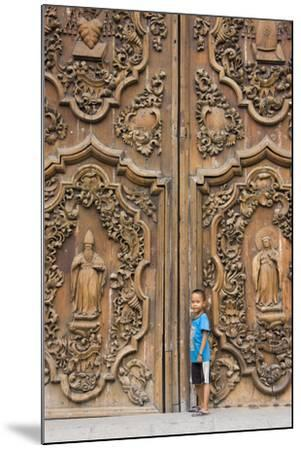 Boy by Entrance to Manila Metropolitan Cathedral, Manila, Philippines-Keren Su-Mounted Photographic Print