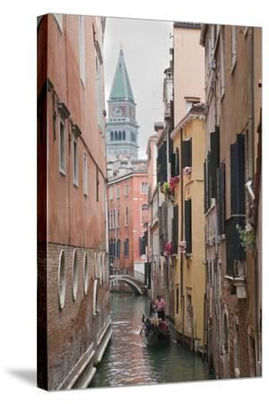 Gondoliers in Back Canal of Venice, Italy-Terry Eggers-Stretched Canvas Print
