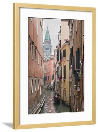 Gondoliers in Back Canal of Venice, Italy-Terry Eggers-Framed Photographic Print