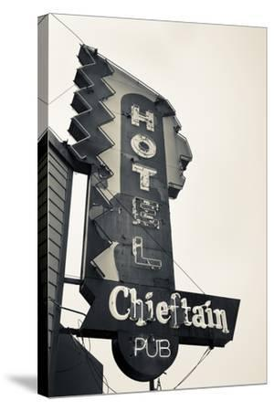 Neon Sign for the Chieftain Hotel and Pub, Squamish, British Columbia, Canada-Walter Bibikow-Stretched Canvas Print