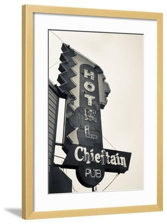 Neon Sign for the Chieftain Hotel and Pub, Squamish, British Columbia, Canada-Walter Bibikow-Framed Photographic Print