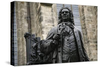 Statue of J. S. Bach, Courtyard of St. Thomas Church, Leipzig, Germany-Dave Bartruff-Stretched Canvas Print