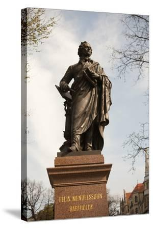 Statue of Felix Mendelssohn, St Thomas Church, Church of Bach, Leipzig, Germany-Dave Bartruff-Stretched Canvas Print