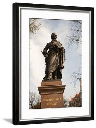 Statue of Felix Mendelssohn, St Thomas Church, Church of Bach, Leipzig, Germany-Dave Bartruff-Framed Photographic Print