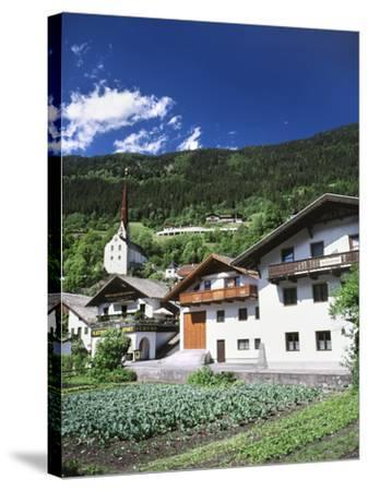 View of Town, Churches and Houses, Oetz, Tyrol, Austria-Walter Bibikow-Stretched Canvas Print