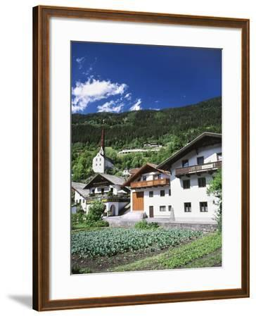 View of Town, Churches and Houses, Oetz, Tyrol, Austria-Walter Bibikow-Framed Photographic Print