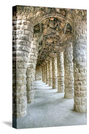 Park Guell Colonnaded Footpath, Barcelona, Spain-Rob Tilley-Stretched Canvas Print