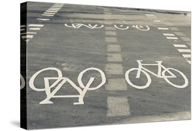 Bicycle Path Road Markings, Vancouver, British Columbia, Canada-Walter Bibikow-Stretched Canvas Print