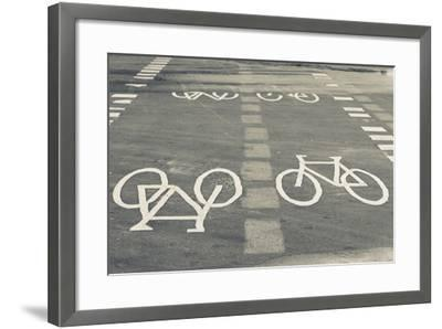 Bicycle Path Road Markings, Vancouver, British Columbia, Canada-Walter Bibikow-Framed Photographic Print