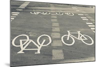 Bicycle Path Road Markings, Vancouver, British Columbia, Canada-Walter Bibikow-Mounted Photographic Print