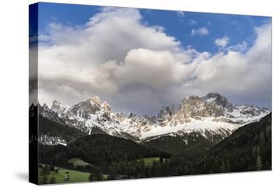 Rosengarten or Catinaccio Mountains, Schlern-Rosengarten, Dolomites, Italy-Martin Zwick-Stretched Canvas Print