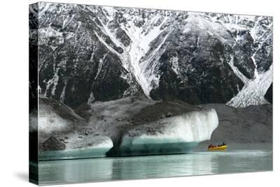 Raft on the Tasman Glacier Terminal Lake, South Island, New Zealand-David Noyes-Stretched Canvas Print
