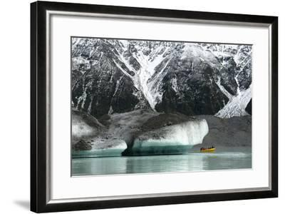 Raft on the Tasman Glacier Terminal Lake, South Island, New Zealand-David Noyes-Framed Photographic Print