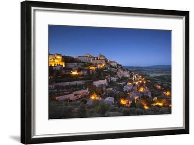 Twilight over Medieval Village of Gordes, Provence, France-Brian Jannsen-Framed Photographic Print