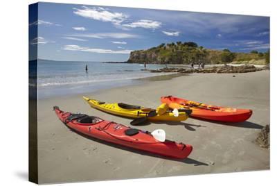 Kayaks, Doctors Point, Mapoutahi Pa, Maori Pa Site, South Island, New Zealand-David Wall-Stretched Canvas Print