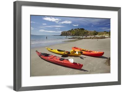 Kayaks, Doctors Point, Mapoutahi Pa, Maori Pa Site, South Island, New Zealand-David Wall-Framed Photographic Print