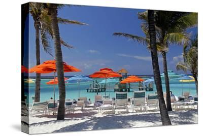 Umbrellas and Shade at Castaway Cay, Bahamas, Caribbean-Kymri Wilt-Stretched Canvas Print