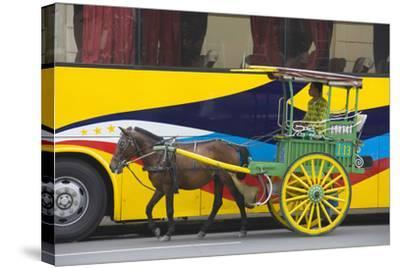 Horse Cart Walk by Colorfully Painted Bus, Manila, Philippines-Keren Su-Stretched Canvas Print