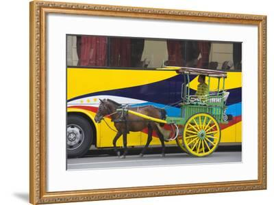 Horse Cart Walk by Colorfully Painted Bus, Manila, Philippines-Keren Su-Framed Photographic Print